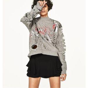 ZARA Graffiti Ripped Splatter Pullover Sweatshirt